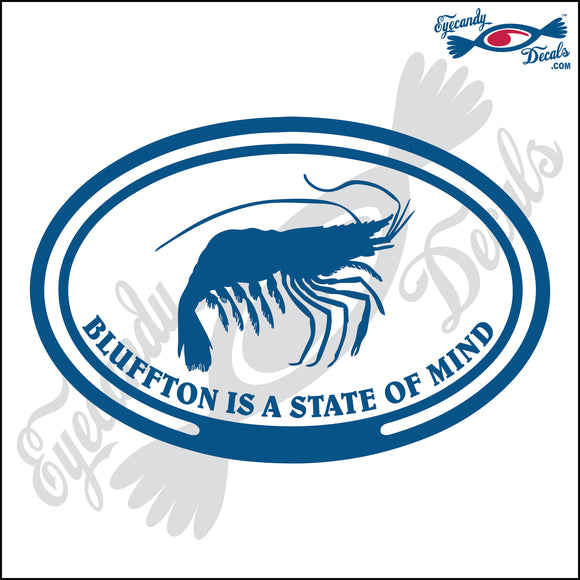 SHRIMP with BLUFFTON SOUTH CAROLINA in OVAL   5 INCH  DECAL