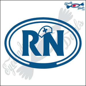 RN with NURSES HAT in OVAL   5 INCH  DECAL