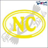 NC for NORTH CAROLOINA in OVAL   5 INCH  DECAL