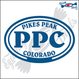 PPC with PIKES PEAK COLORADO in OVAL   5 INCH  DECAL