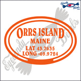 COORDINATES for ORRS ISLAND MAINE in OVAL   5 INCH  DECAL