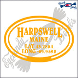 COORDINATES for HARPSWELL MAINE in OVAL   5 INCH  DECAL