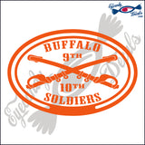 BUFFALO SOLDIERS with 9th AND 10th in OVAL   5 INCH  DECAL