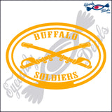 BUFFALO SOLDIERS with SWORDS in OVAL   5 INCH  DECAL