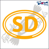 SD in OVAL   5 INCH  DECAL