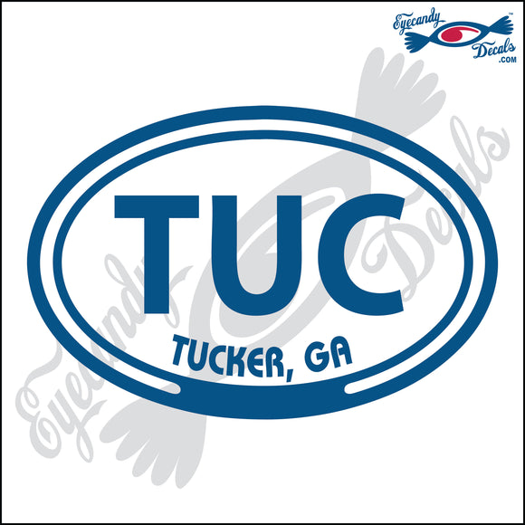 TUC with TUCKER GEORGIA in OVAL   5 INCH  DECAL