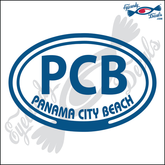 PCB with PANAMA CITY BEACH FLORIDA in OVAL   5 INCH  DECAL