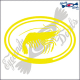 SHRIMP in OVAL   5 INCH  DECAL