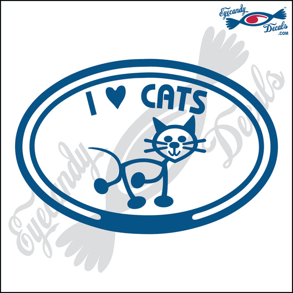 I LOVE CATS in OVAL   5 INCH  DECAL