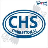 CHS with CHARLESTON SOUTH CAROLINA in OVAL   5 INCH  DECAL