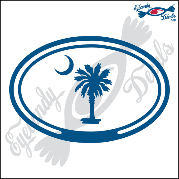 PALMETTO AND MOON for SOUTH CAROLINA in OVAL   5 INCH  DECAL