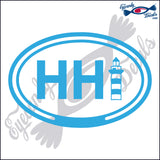 HHI with LIGHTHOUSE for HILTON HEAD SOUTH CAROLINA in OVAL   5 INCH  DECAL