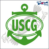 USCG with ANCHOR for COAST GAURD in OVAL   5 INCH  DECAL