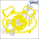 FF with AXES AND FIRE BADGE for FIRE FIGHTER in OVAL   5 INCH  DECAL