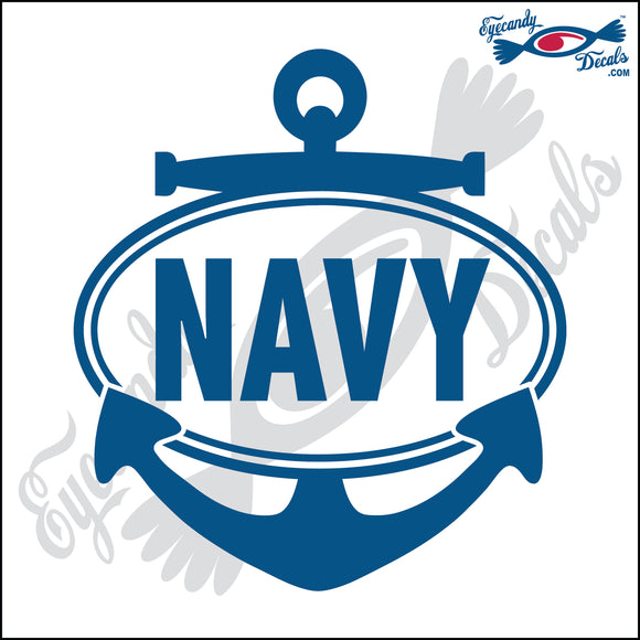 NAVY with ANCHOR in OVAL   5 INCH  DECAL