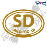 SD with SAN DIEGO CALIFORNIA in OVAL   5 INCH  DECAL