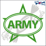 ARMY with STAR  in OVAL   5 INCH  DECAL