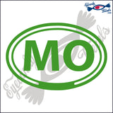 MO for MISSOURI in OVAL   5 INCH  DECAL
