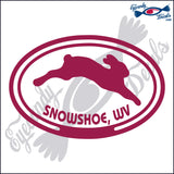 RABBIT with SNOWSHOE WEST VIRGINIA in OVAL   5 INCH  DECAL