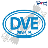 DVE with DAVIE FLORIDA in OVAL   5 INCH  DECAL