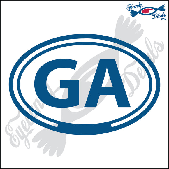 GA for GEORGIA in OVAL   5 INCH  DECAL