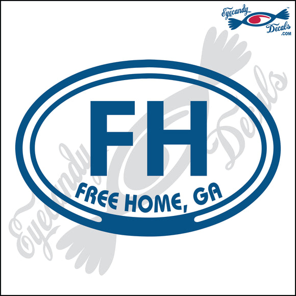 FH with FREE HOME GEORGIA in OVAL   5 INCH  DECAL