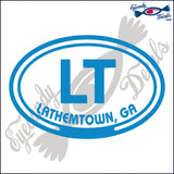 LT with LATHEMTOWN GEORGIA in OVAL   5 INCH  DECAL