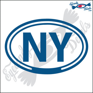 NY for NEW YORK in OVAL   5 INCH  DECAL