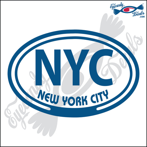 NYC WITH NEW YORK CITY in OVAL   5 INCH  DECAL