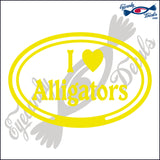 I LOVE ALLIGATORS in OVAL   5 INCH  DECAL
