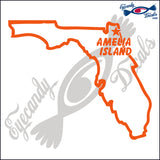 FLORIDA OUTLINE with AMELIA ISLAND 6 INCH  DECAL