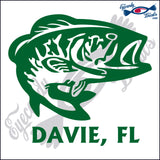 BASS with DAVIE FLORIDA 6 INCH  DECAL