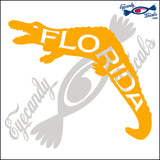 GATOR FLORIDA SHAPE with FLORIDA INSIDE 6 INCH  DECAL