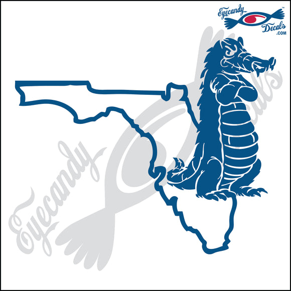 FLORIDA SHAPE with GATOR STANDING 6 INCH  DECAL