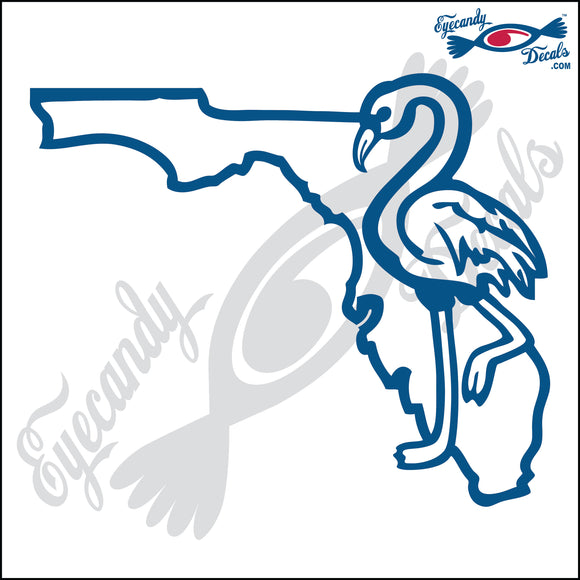 FLORIDA SHAPE with FLAMINGO 6 INCH  DECAL