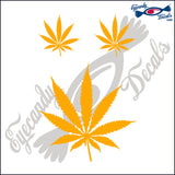 "POT LEAF FLOWER 4""  DECAL plus 2 small"