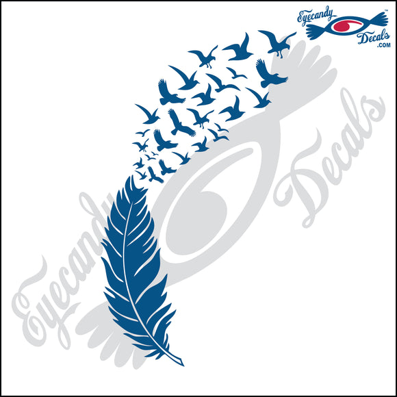 FEATHER TURNING INTO BIRDS 6 INCH  DECAL