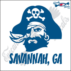 PIRATE HEAD with SAVANNAHA GEORGIA 6 INCH  DECAL