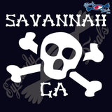 SKULL AND CROSSBONES with SAVANNAHA GEORGIA 6 INCH  DECAL