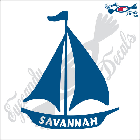 SAILBOAT with SAVANNAHA GEORGIA 6 INCH  DECAL