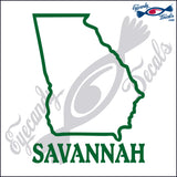 GEORGIA OUTLINE with SAVANNAHA GEORGIA 6 INCH  DECAL