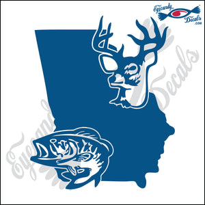 GEORGIA SHAPE with DEER and BASS 6 INCH  DECAL GOLD