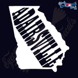 GEORGIA SHAPE WITH ADAIRESVILLE 6 INCH  DECAL
