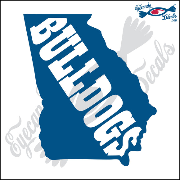GEORGIA SHAPE with BULLDOGS 6 INCH  DECAL
