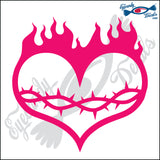 "FLAMING HEART 6"" DECAL"