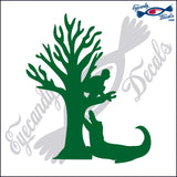 "ALLIGATOR 13 - GATOR WITH MAN IN TREE  5""  DECAL"