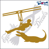 "ALLIGATOR 14 - GATOR WITH MAN ON ZIPLINE  5""  DECAL"