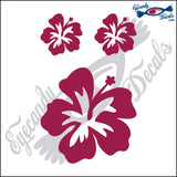 "HIBISCUS FLOWER  4""  plus 2 small DECAL"
