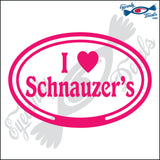 "EURO WITH I LOVE SCHNAUZERS  5"" DECAL"