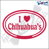 "EURO WITH I LOVE CHIHUAHUAS  5"" DECAL"